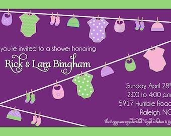 Clothesline Baby Shower Invitation