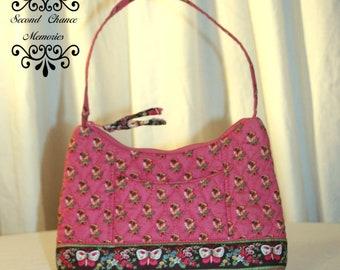 Vintage Quilted, Vera Bradley, Little Girls Purse, Child's Purse, Pink Floral Butterfly Design