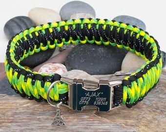 Reflective Black & Yellow Camo Engraved Dog Collar - Free Engraving