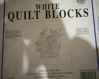 APRILSALE White Quilt Blocks, Jack Dempsey Needle Art, Floral Basket, Quit Blocks to Embroider, 6 18 by 18 inch Blocks per Package, You will