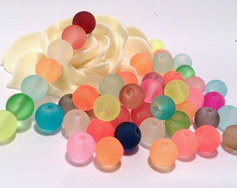 100 frosted multicolored beads, 6 mm, (A 65)