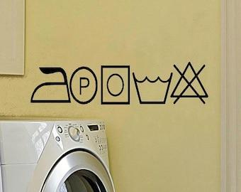 wall decal Laundry symbols laundryroom