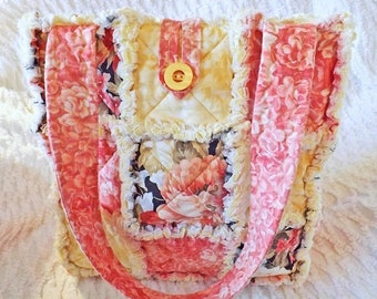 On Sale Floral Rag Tote - Pink, Black, Beige, Yellow - Rag Quilt Tote - Gift for Her - Gift for Her