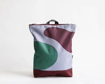 """Deep red waterproof backpack, Printed """"Deep"""" design, Printed laptop backpack"""