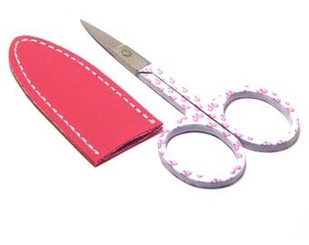 Embroidery Scissors & Sheath 3 1/2 Inch Ribbons Pink with Raspberry Vinyl Sheath
