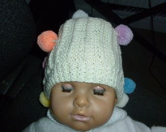 Childrens Jester Hand Knitted Beanies Hats Bobbles all over this makes them fun to wear