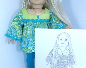 Julie Albright Doll Coloring - American Girl Doll Coloring Pages - 2 jpeg Digital Downloads to Print and Color