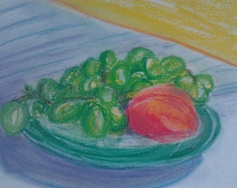 Original Fine Art Pastel Painting Still Life Peach and Grapes
