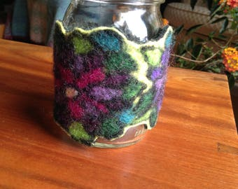 Felted Cozy, with Mason Jar and Handle and Sip Lid/Straw, Flowers, Beautiful Gift