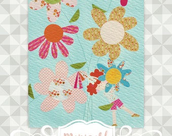 Instant Download- Marigold Quilt Pattern.  Embroidery. Princess Appliqué Quilt. Large Floral Baby Girl Quilt. Wall Hanging. Children Nursery