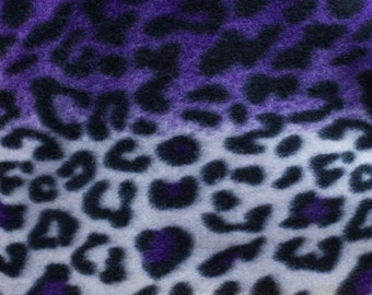 Purple and White Leopard Print Fleece Fabric by the yard
