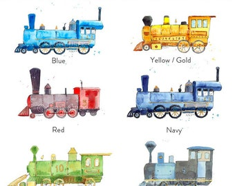 Train Prints for Boys Room - Set of 3 - Kids Train Prints - Train Prints Nursery - Train Wall Decor - Train Wall Art for Kids - Steam engine