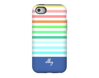 iPhone case , Rainbow Stripes, Personalized iPhone 8, iPhone 7, iPhone 6 Tin Tree Gifts Monogram Gift for Women