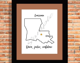 State of Louisiana with Motto