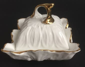 White porcelain covered dish with gold gilded edge Staffordshire England