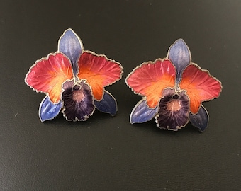 Purple Orange and Pink Orchids Cloisonné Enamel Pierced Earrings