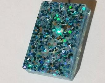 Shimmering Blues Rectangular Pendant