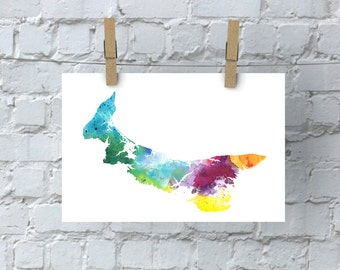 PEI Watercolor Map - Giclée Print of Hand Painted Original Art in Rainbow Colors