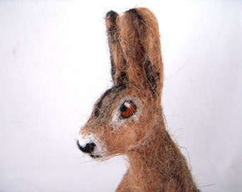 Custom Needle Felted Pet Sculpture of your pet by a Scottish artist - Example Felt Hare Sculpture - medium sized. Simple coat