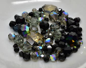 Mixed Lot of Swarovski Crystals 4mm - 13.5mm Black, Gray, Smokey