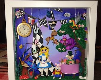 Alice in Wonderland Inspired Showdowbox Sculpture.