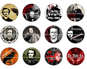 Edgar Allen Poe Magnets Pins Gothic Fridge Magnets Raven Crow Classic Literature Magnet Pin Gift Sets Poe Novels