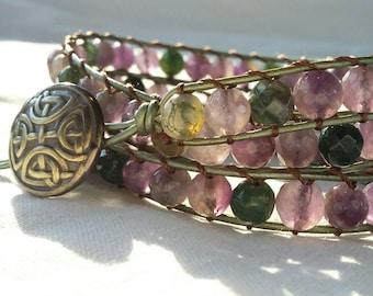 Prosperity Bracelet Crystal Beaded Wrap Bracelet Protection Bracelet Wrap Bracelet Celtic Bracelet Celtic Bracelet Purple Green Bracelet