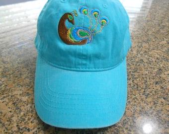 Embroidered Peacock Ladies Baseball Cap