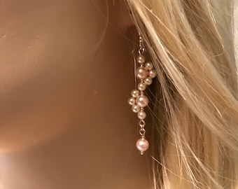 Bridal Collection XIII: Pink and Cream Pearls Earrings