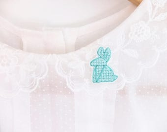 Origami rabbit cross stitched collar pin, origami pin, gifts for her, gifts under 30, easter bunny, mint rabbit, gifts for bunny lovers