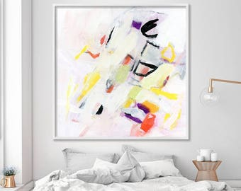 """large wall art print from white original painting, Colorful Abstract Art fun Geometric Mid century modern art """"Small Birds 3"""""""
