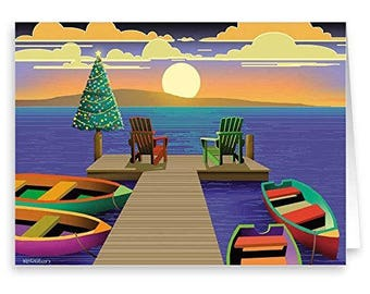 Holiday Dock Nautical Card - 18 Cards & Envelopes - 60014