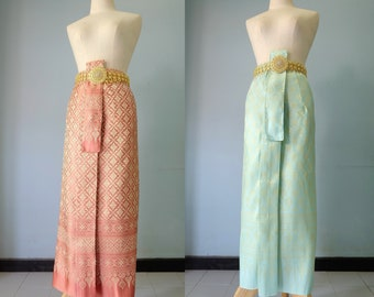 Finished sarong, Thai traditional skirt, Tube skirt, Wrap around skirt with Thai ancient pattern design, Thailand, Sriwichai Aranya