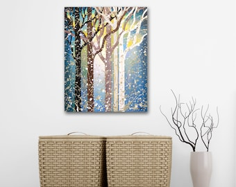 Original Forest Painting on Canvas, Misty Woods Woodland Art Landscape Painting, Foggy Forest Nature Art