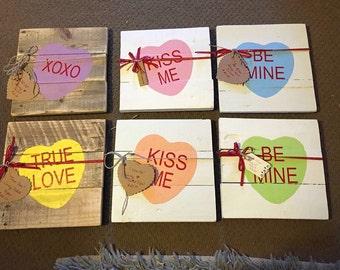 Valentine conversation heart pallet sign