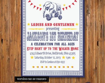 Circus Birthday Party Invitation - Vintage Circus Birthday invitation - Come One Come All - Under the Big Top - Item 0032