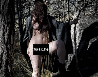 Artistic nude photo print Outdoor nude fine art photography Naked in nature - The Spirit Protector - 02 - MATURE