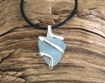 Sea glass jewelry- Aqua blue sea glass necklace