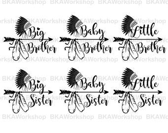 Big brother, Sister svg - Baby brother, sister svg - Little brother, sister digital clipart for Design or more, files download svg, png, dxf