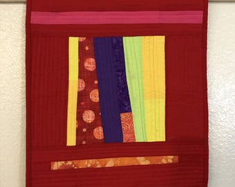 Textile Art Red Geometric Quilt