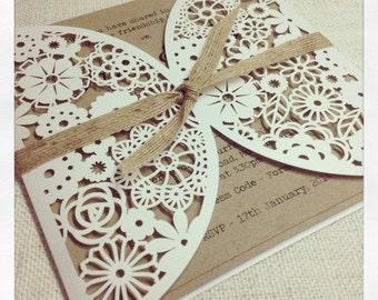 Rustic Wedding Lasercut Invitation Floral Paper Lace