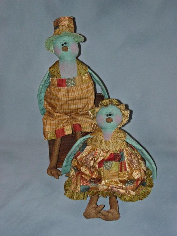 "Betty and Blu Birt: 14"" Spring Birds Rag Doll Couple"