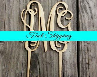Cake Topper - Unfinished Wooden Monogram Cake Topper - Custom Monogram Cake Topper - Wedding Cake Decor