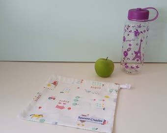 Farm Animals - Off White - Small Drawstring Bag, Fresh Produce Bag, Project Bag, Toy Bag, Reusable, Ecofriendly, Handmade