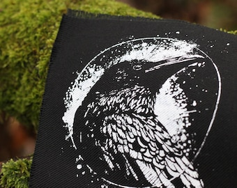 handprinted patch crow raven occult