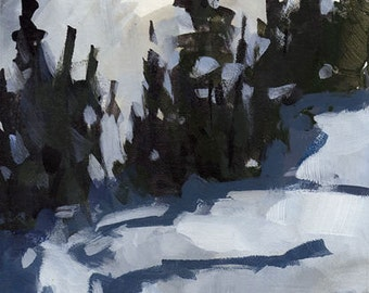 Original Landscape Snow Trees Forest Mountains - 5x7 by David Lloyd