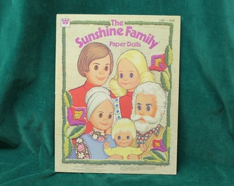 The Sunshine Family Paper Dolls Book #1981 by Whitman <copyright> 1977 Mattel - unused uncut fully intact punch out paper dolls & clothes