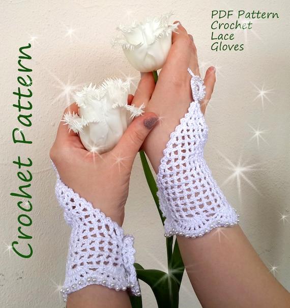 Sale Crochet Pattern Fingerless Wedding Gloves Easy Crochet
