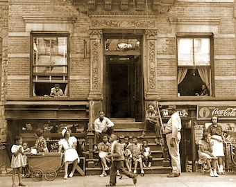 "1935-1939 Harlem Tenement in Summer, NY Vintage Photograph 8.5"" x 11"" Reprint"