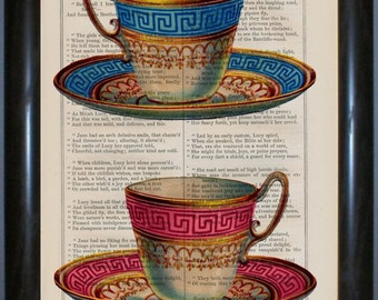 China Tea Cups Print on Vintage 1860's Repurposed Page mixed media digital